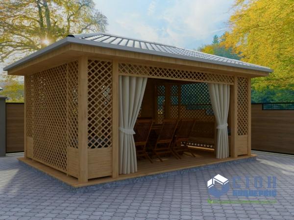Строительство беседок из дерева в Харькове